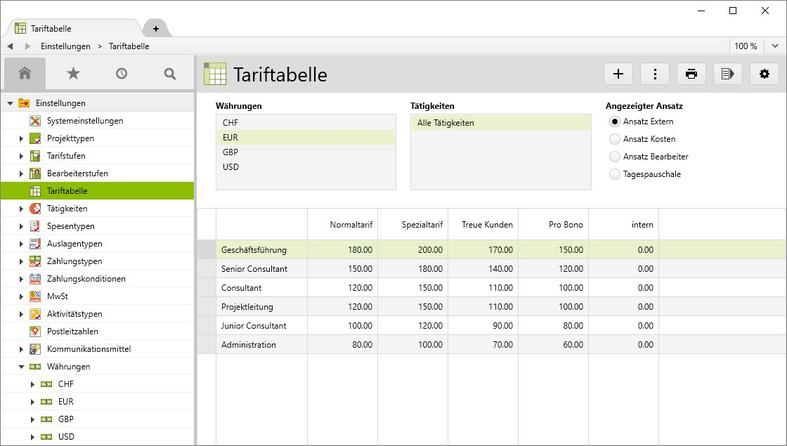 In der Tariftabelle hinterlegen Sie Stundensätze, die je nach Projekteinstellung Anwendung finden.