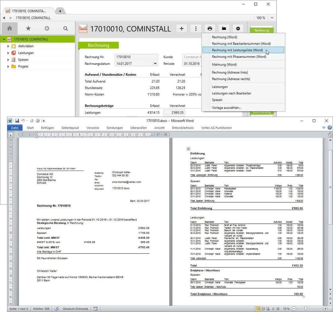 MS-Office Integration für die Fakturierung in Vertec.